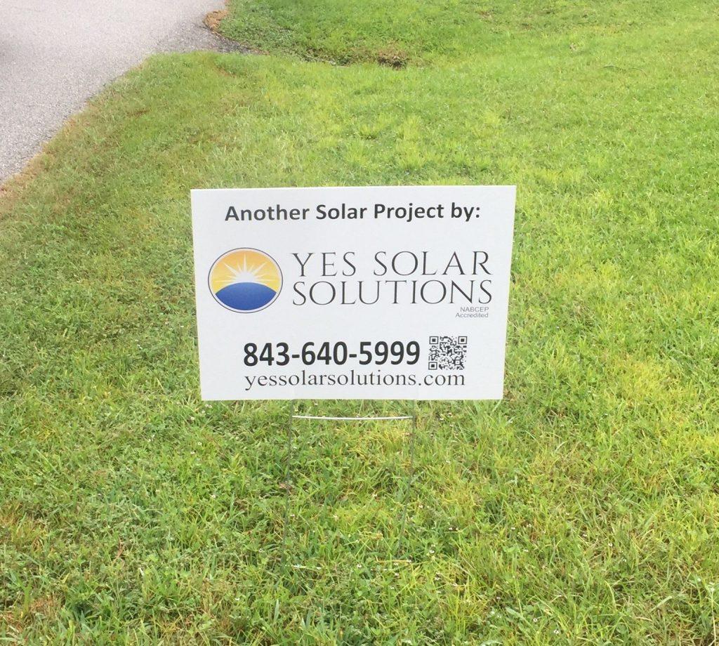 North Charleston Solar Panel Installation | Yes Solar Solutions Sign
